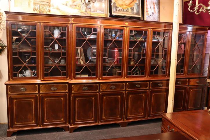 Extra großes antikes Breakfront Bookcase, 4m Breite, Mahagoni, ca. 1900