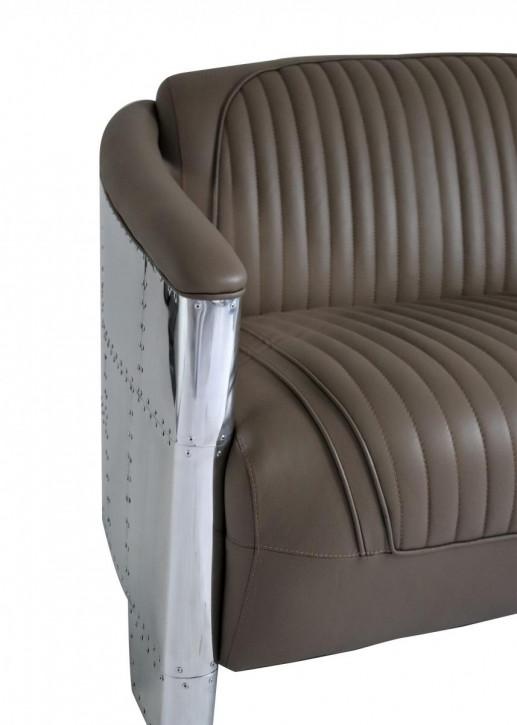 Französisches Ledersofa Zweisitzer VolllederMassivholz Aluminium Retro Vintage klassisch