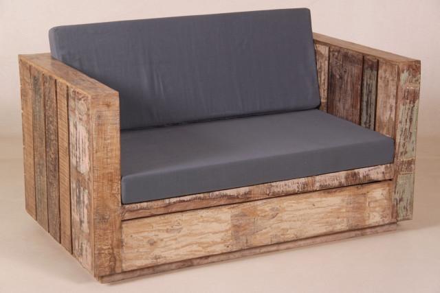 Shabby Chic 2-Sitzer Gartenbank mit Kissen
