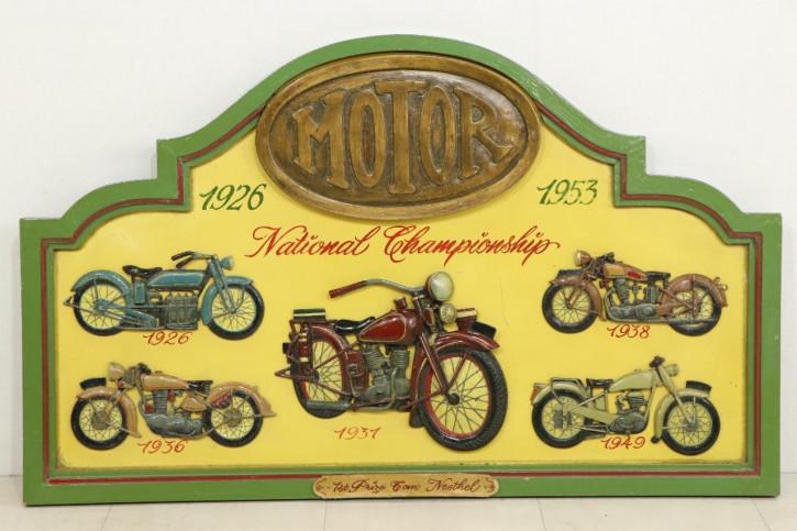 Handbemaltes Vintage Werbeschild mit Motorrädern