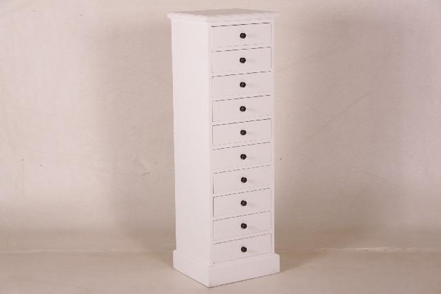 Teak Kommode mit 10 Schubladen weiß (behandelt)
