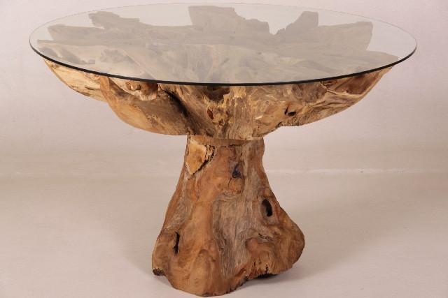 Holz Esstisch mit Glasplatte - 120cm