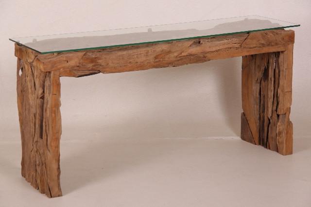 Teak Tisch Holz mit Glasfläche
