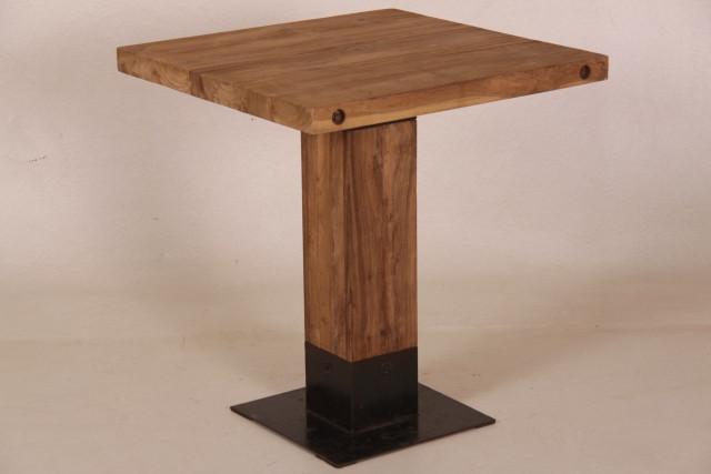 Teak Esstisch mit Metallfuß 70 x 70 cm behandelt