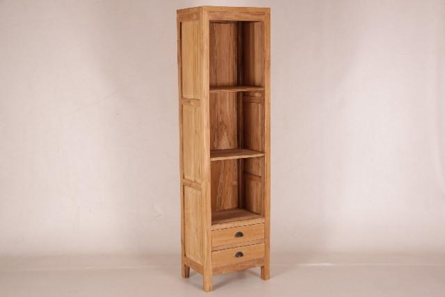 Kleines Bücherregal mit 2 Schubladen, unbehandelt