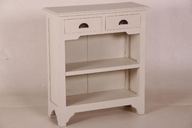 Beistelltisch Landhausstil Kommode in weiß mit zwei Schubladen