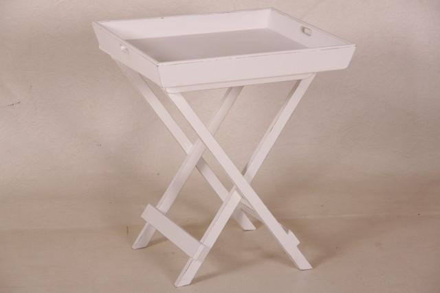 Beistelltisch mit Tablett weiß Landhausstil kleiner Tisch aus Holz