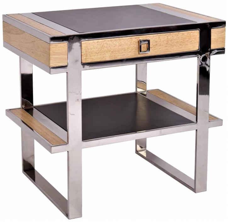 Konsole Inox und Holz mit Schublade