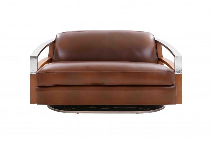 Madison Clubsofa Alu 2 Sitzer Leder Vintage