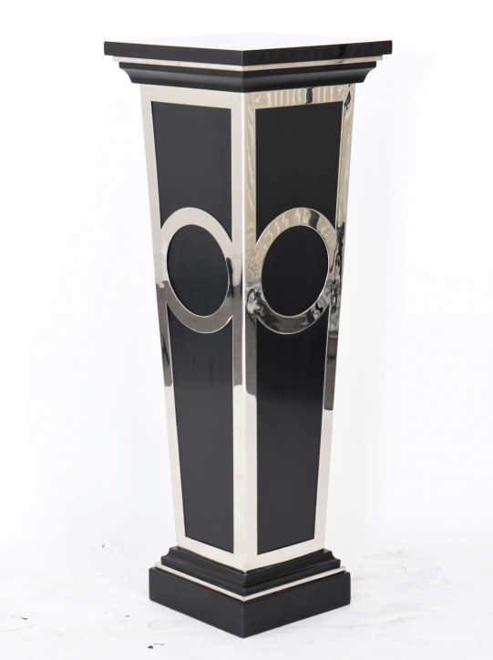 """""""Pedestal"""" im Inox-Design aus Edelstahl und Holz"""