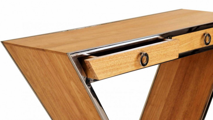 """""""Delta"""" Kommode im Inox-Design aus Edelstahl und Holz Natur"""