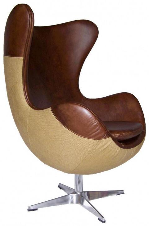 "Französischer Drehsessel Echtleder Sessel ""Jacob's Special"" 114x78x74cm"