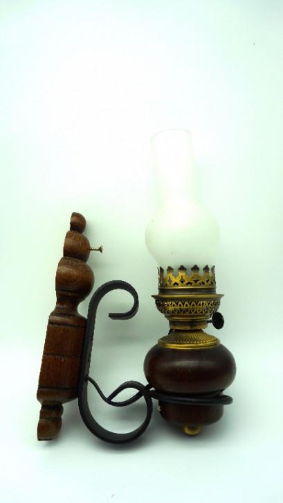 "Elektrische Wandlampe ""Petroleumstyle"" Holz/Glas"