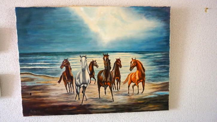 "Ölgemälde ""Pferde am Strand"""