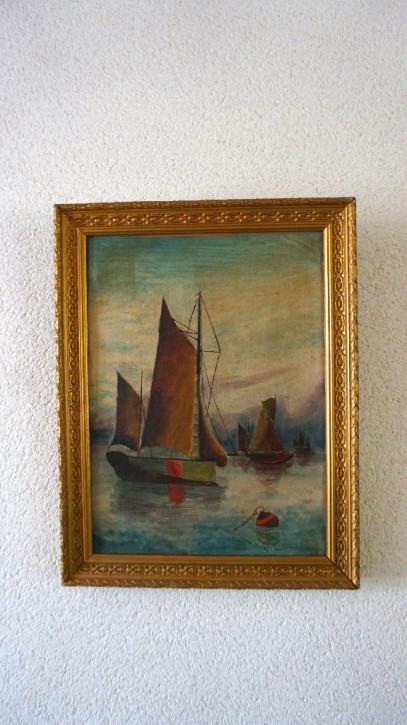 franz. Ölgemälde Segelschiff vergoldeter Rahmen