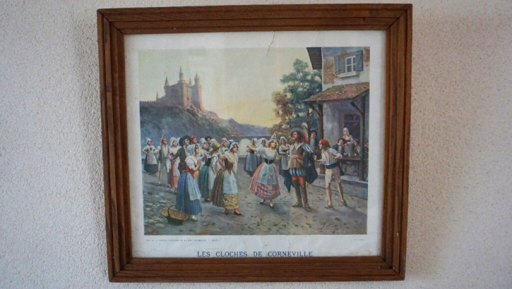 """Antiker Druck """"Les Cloches de Corneville"""", Eichenrahmen"""
