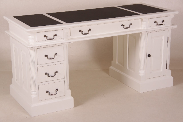 Schreibtisch mit Kunstleder in versch. Größen