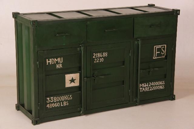 Sideboard im Container Design, grün
