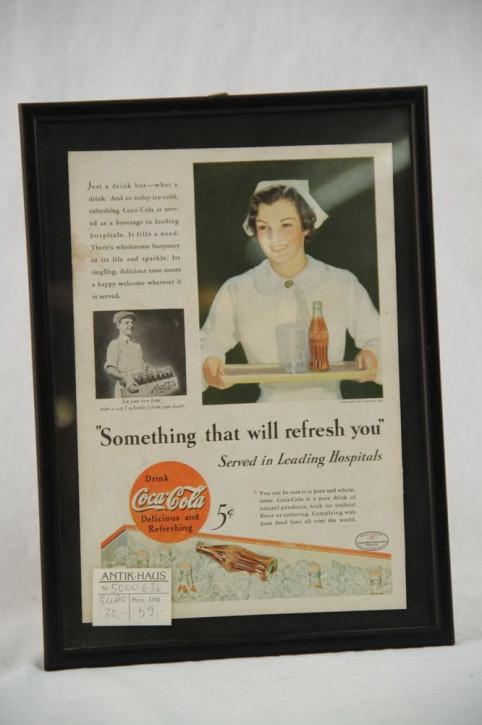 """Gerahmtes Werbebild Coca Cola """"Refreshing"""""""