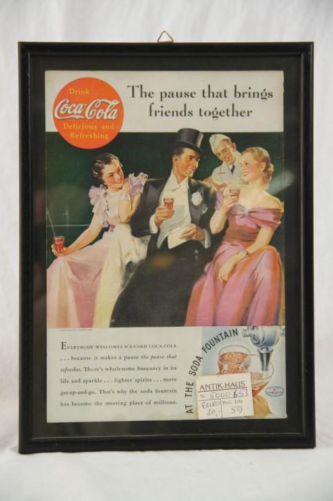"Gerahmtes Werbebild Coca Cola ""Friends"""