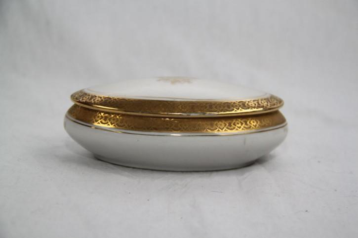 Hübsche Porzellan Dose Goldverzierung