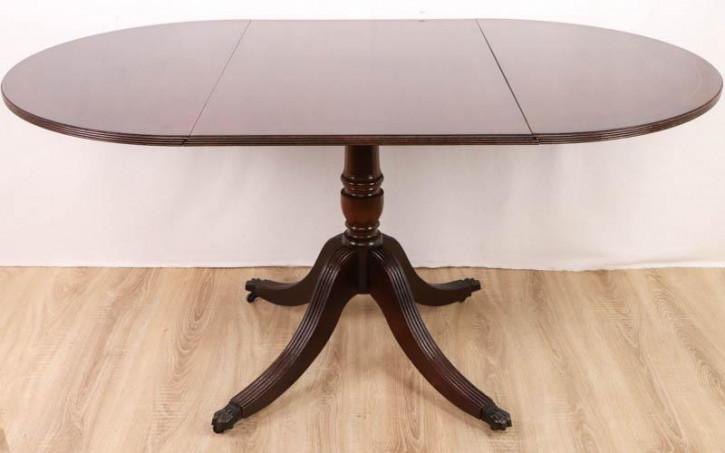 Klappbarer Esstisch / Drop Leaf Table, Mahagoni, auf Rollen