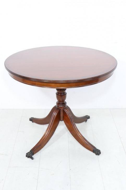 Kleiner runder Esstisch in Mahagoni, englischer Stil