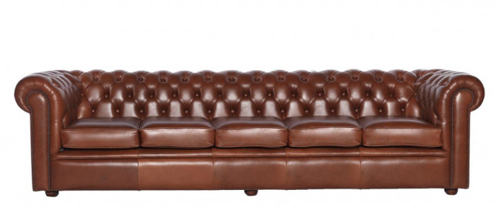 """William"" Chesterfield Sofa 4-Sitzer Echtleder"
