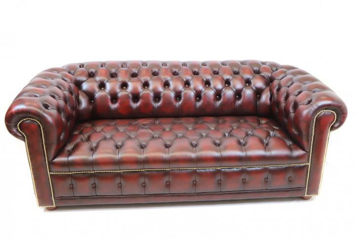 """London Classic"" Chesterfield Sofa original 3-Sitzer Buttonseat Birch Antique Rot Sofort Lieferbar"