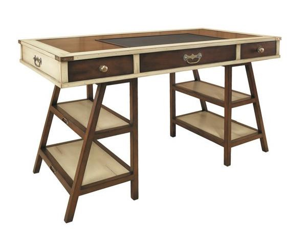 """Vintage """"Navigator's"""" Schreibtisch, Elfenbein/braun"""