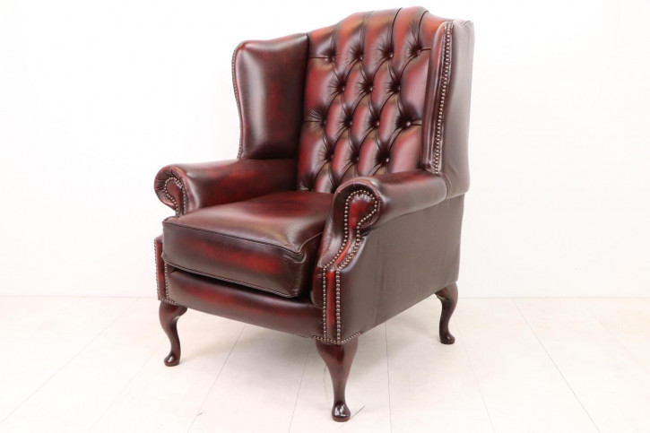 Originaler Chesterfield Ohrensessel, rotes Leder, Queen Anne Stil