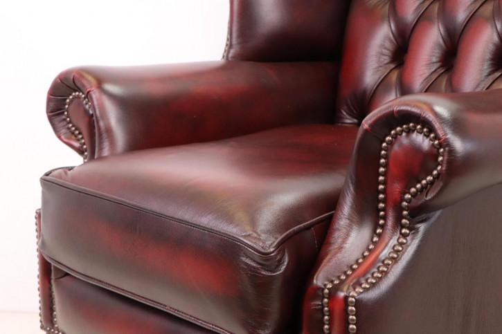 Originaler Chesterfield Ohrensessel, rotes Leder, Queen Anne Stil