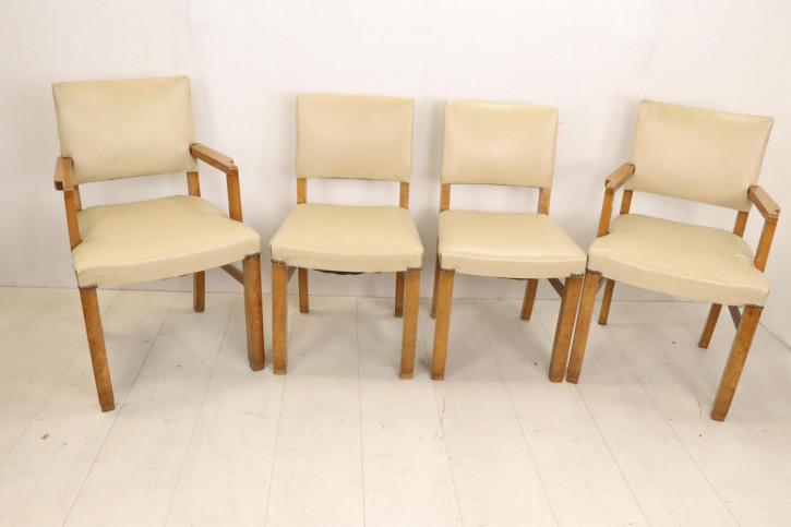 Originales Art déco Stuhlset, 4 Esszimmerstühle mit cremefarbenen Leder, ca. 1930