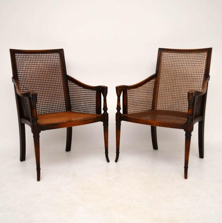 Paar antike Mahagoni Zuckerrohr Sessel Stühle