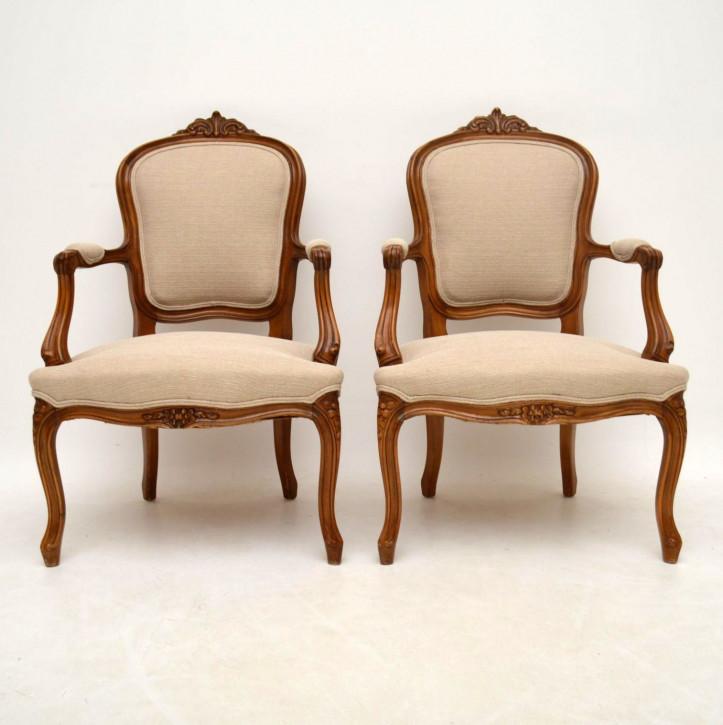 Paar Antike Französische Salon Sessel