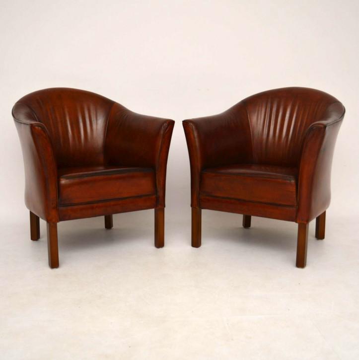 Paar schwedische antike Leder Sessel braun