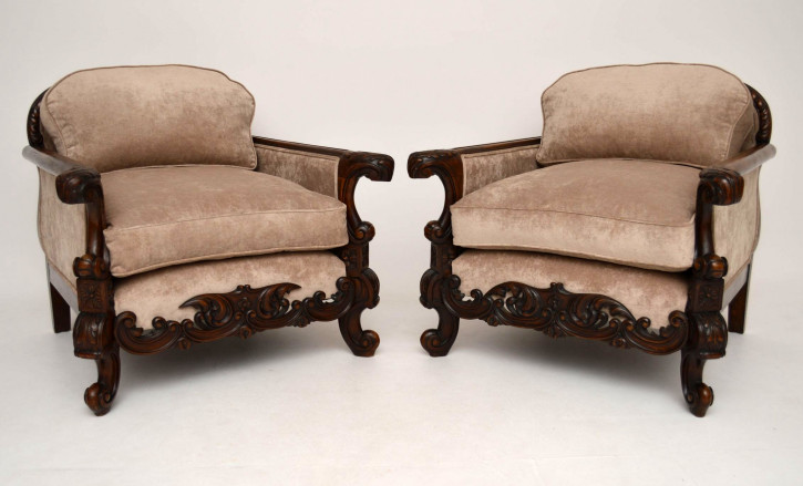 Pair of Antique Swedish Walnut Armchairs