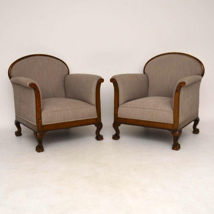Großes Paar Antike Schwedische Satin Birkenstühle Sessel