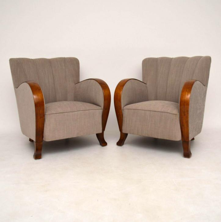 Edles Paar schwedische Satin Birke Art Deco Sessel