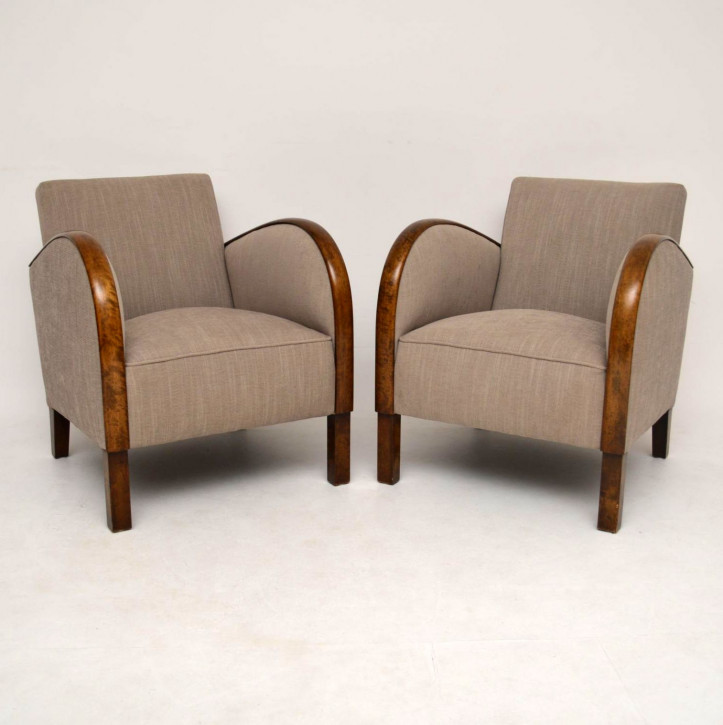 Paar schwedische Art Deco Satin Birke Sessel