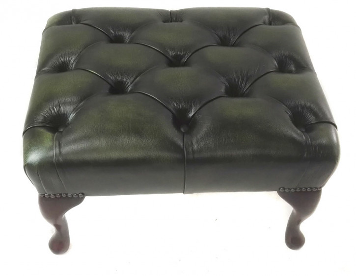 """Queen Anne"" Dark Chesterfield Hocker"