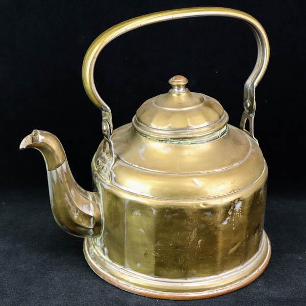 Rare Antike Teekanne aus Messing, Goldfarbene Messing Kanne