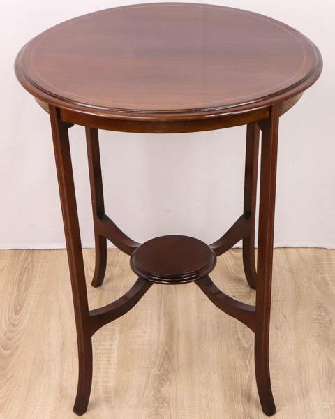 Runder Beistelltisch / Occasional Table mit feinen Intarsien, Mahagoni