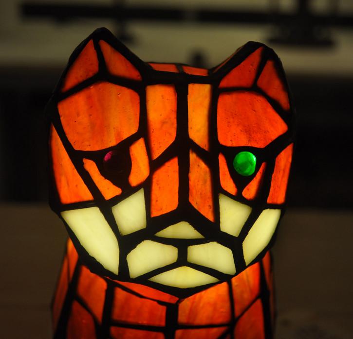 Dekolampe im Tiffany-Stil Katze ca. 23 x Ø 26 cm