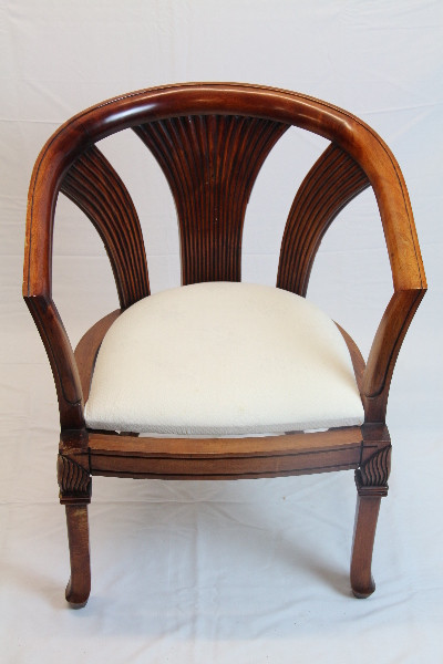 Stuhl Weißes Polster Mahgoni Armchair Massivholz