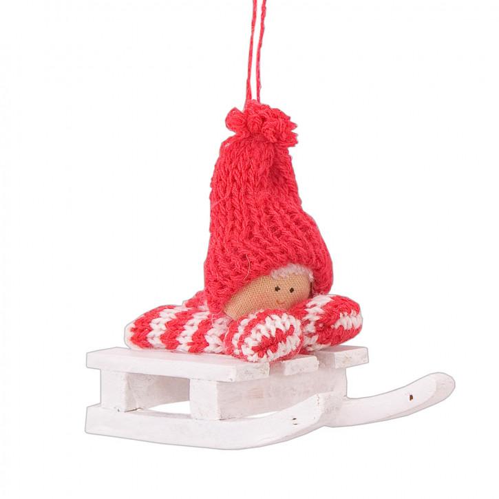 Stoffpuppe auf Schlitten zum Aufhängen, in rot/weiß