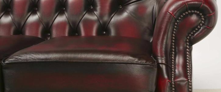 """Paisley"" Original Chesterfield Sofa 2-Sitzer Echtleder Anilinleder"