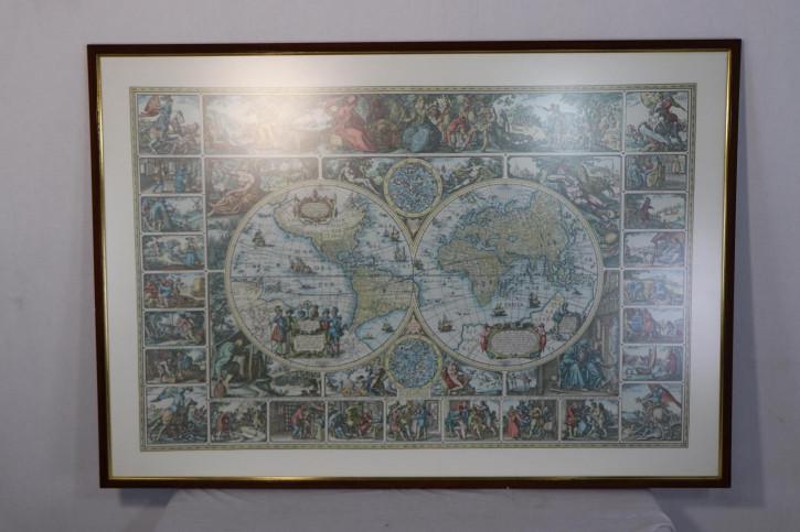 """Vintage Print """"Antike Weltkarte"""", gerahmt"""