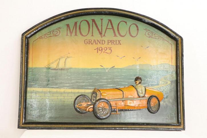 Vintage Werbeschild mit Rennsport-Motiv, handbemalt