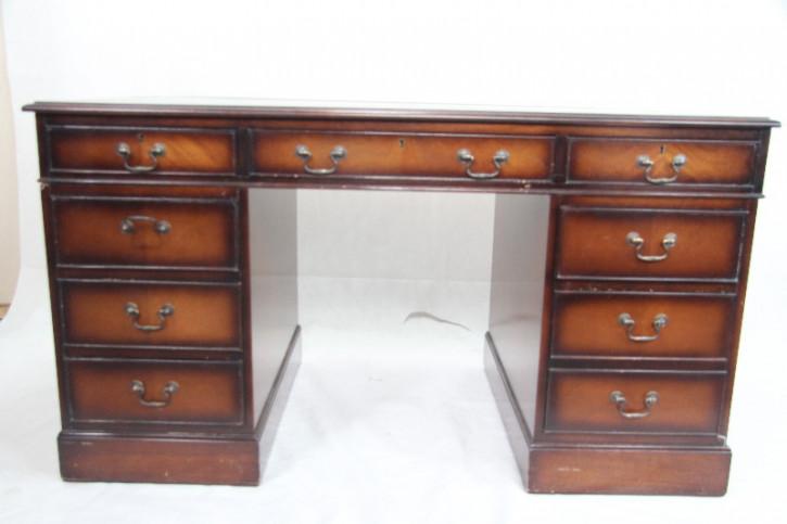 Schreibtisch Mhagoni Pedastal Desk grünes Leder
